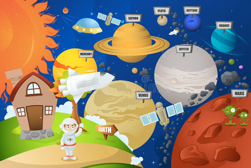 Sistema del pianeta e dell'astronauta illustrazione di stock