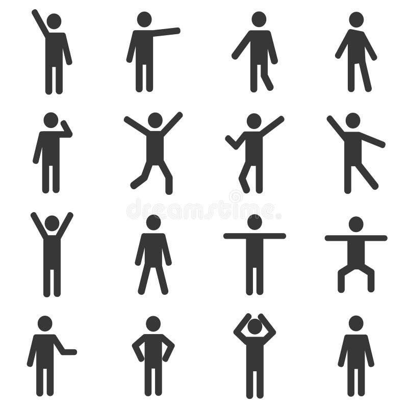 Sistema del pictograma humano activo stock de ilustración