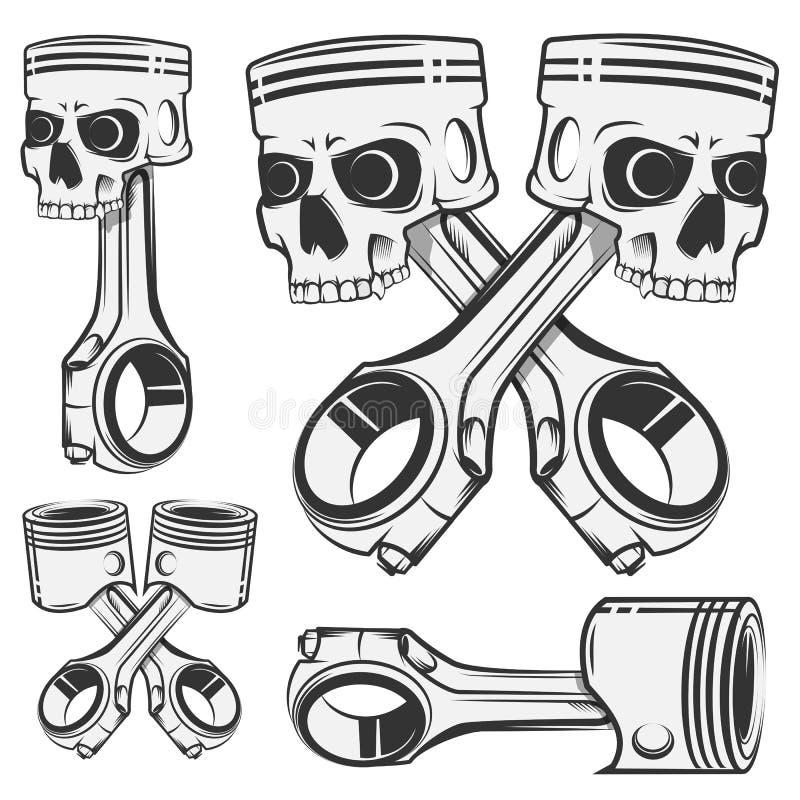 Sistema del pistón para los emblemas, tatuaje del diseño, etiquetas del cráneo Deporte libre illustration