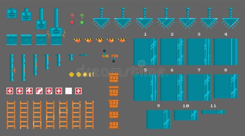 Sistema del pixel de los sprites para el juego del platformer ilustración del vector
