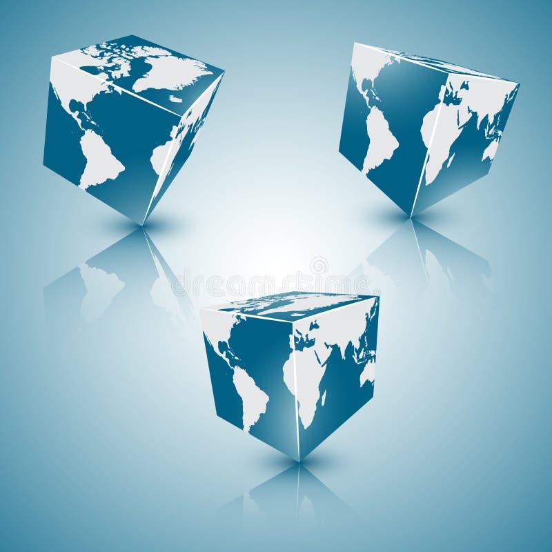 Sistema del planeta abstracto azul cuadrado de la tierra, EPS 10 stock de ilustración