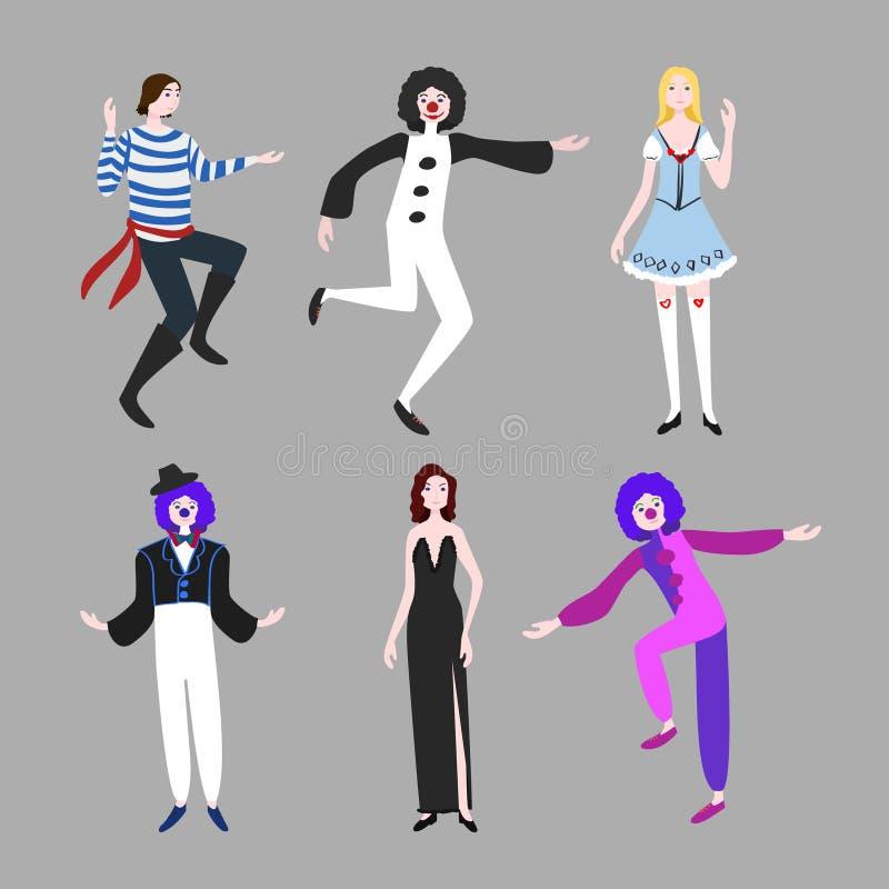 Sistema del plano de la gente del carnaval stock de ilustración