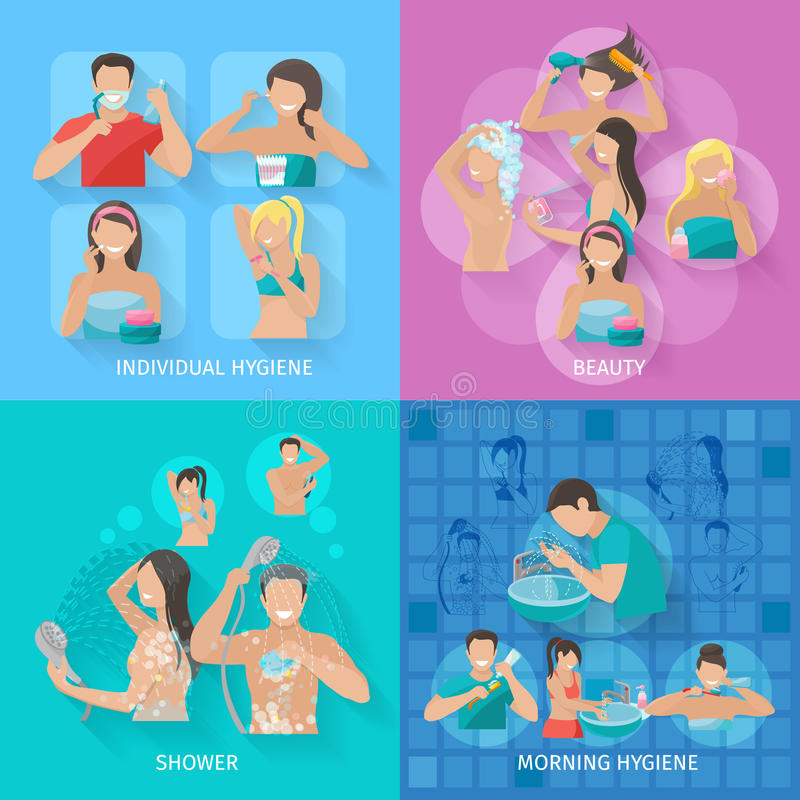 Sistema del plano de la higiene stock de ilustración