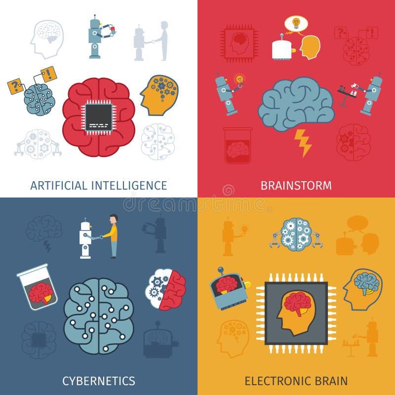 Sistema del plano de la inteligencia artificial ilustración del vector