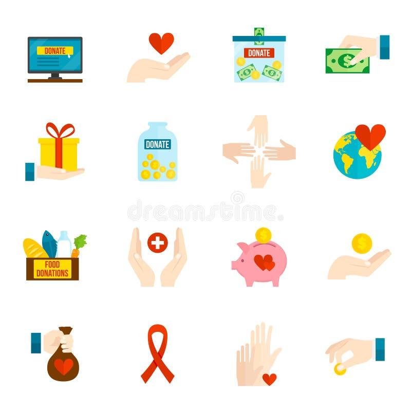Sistema del plano de los iconos de la caridad stock de ilustración
