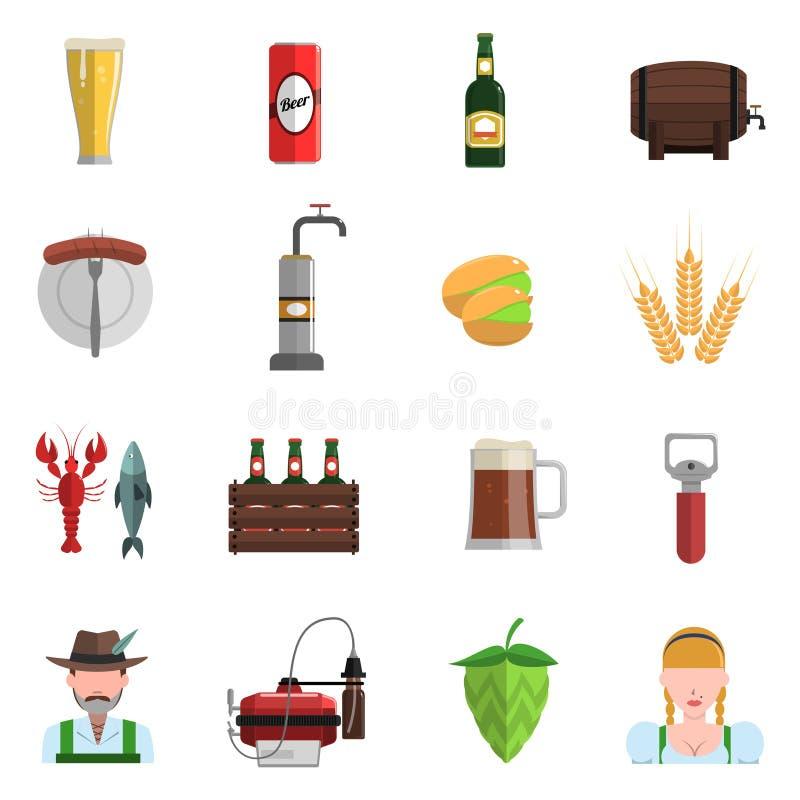 Sistema del plano de los iconos de la cerveza libre illustration