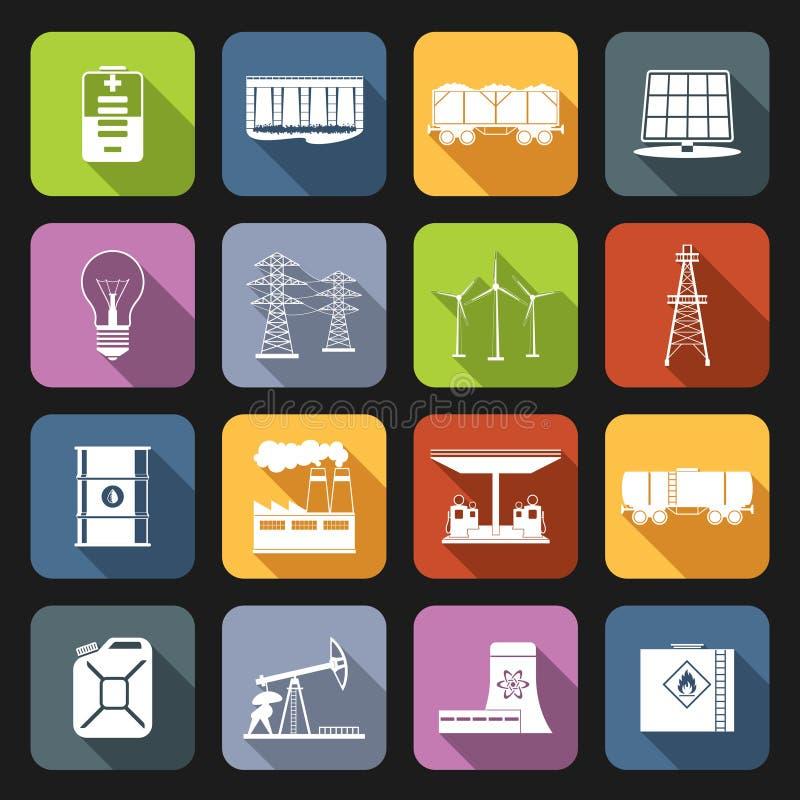 Sistema del plano de los iconos de la energía libre illustration