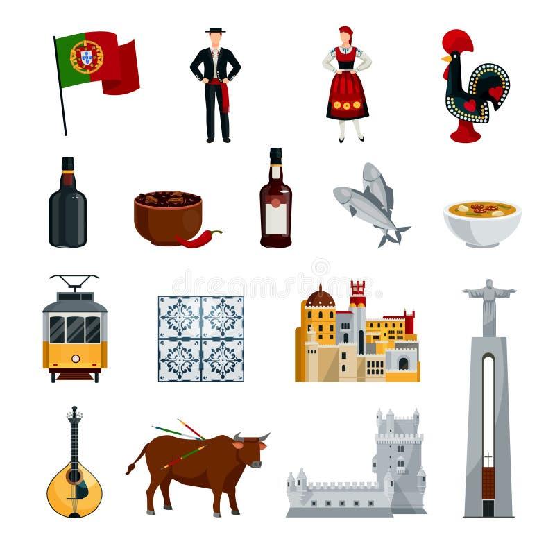 Sistema del plano de los iconos de Portugal ilustración del vector