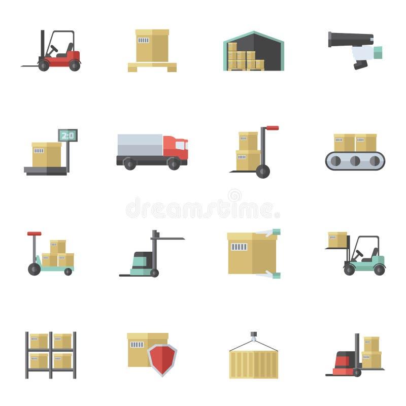 Sistema del plano de los iconos de Warehouse libre illustration