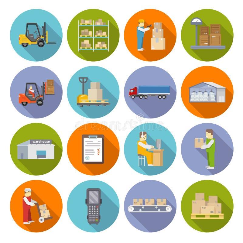 Sistema del plano de los iconos de Warehouse stock de ilustración