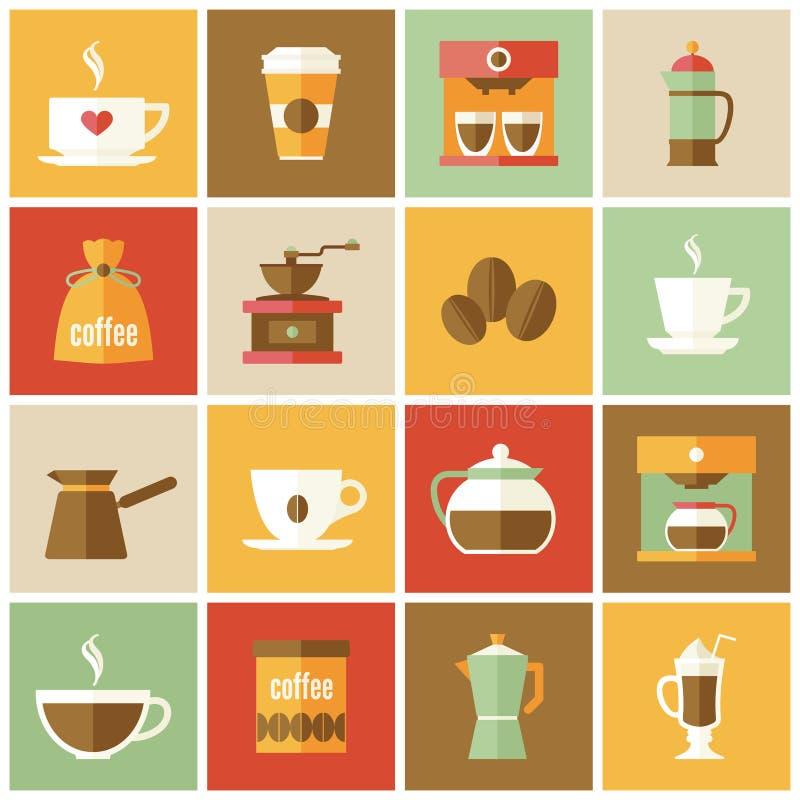 Sistema del plano de los iconos del café libre illustration