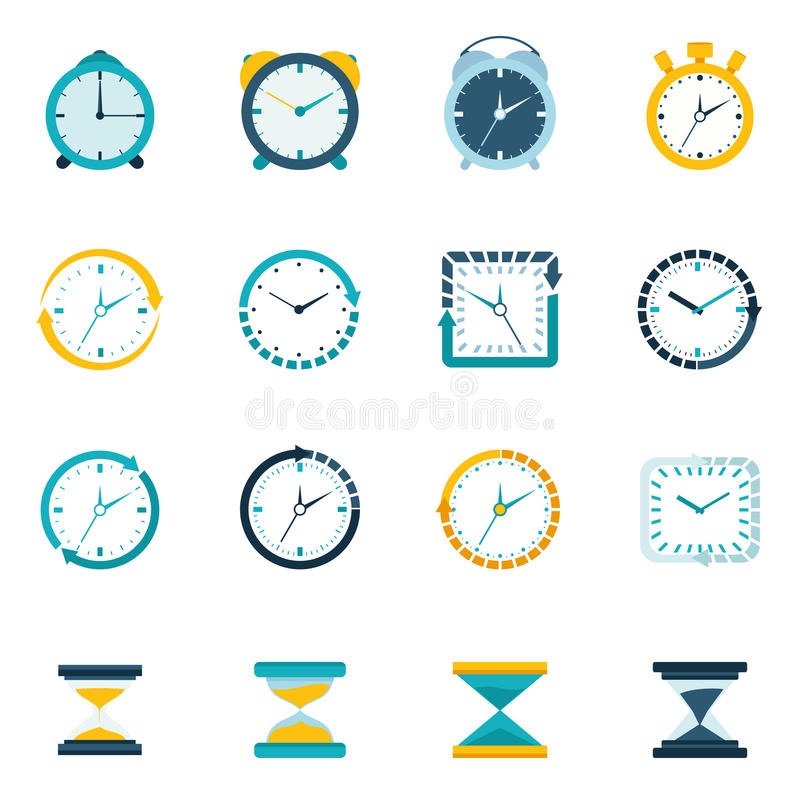 Sistema del plano del icono del reloj stock de ilustración