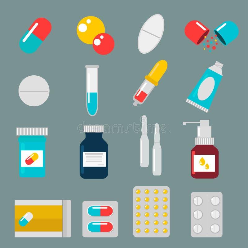 Sistema del plano del vector de los iconos de las cápsulas de las píldoras Médico stock de ilustración