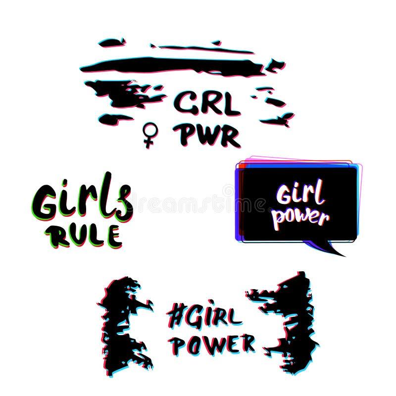 Sistema del poder de la muchacha ilustración del vector