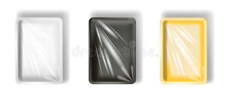 Sistema del poliestireno blanco, amarillo, negro que empaqueta, con la película transparente Aislado en el fondo blanco stock de ilustración