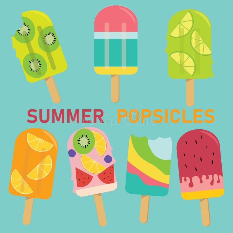 Sistema del polo en colores pastel del vector, polo de la fruta, helado, libre illustration