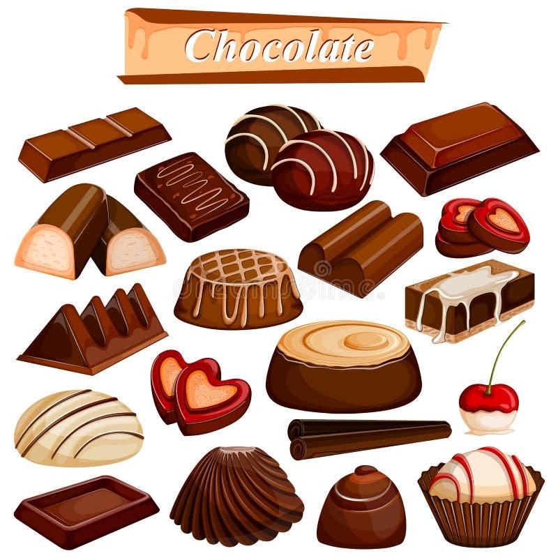 Sistema del postre clasificado delicioso de la comida del chocolate ilustración del vector