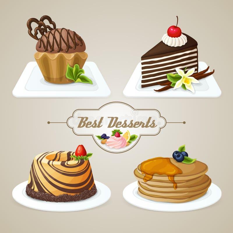 Sistema del postre de los dulces stock de ilustración