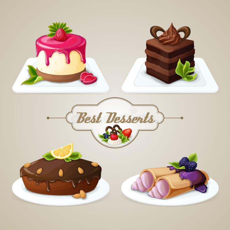 Sistema del postre de los dulces ilustración del vector