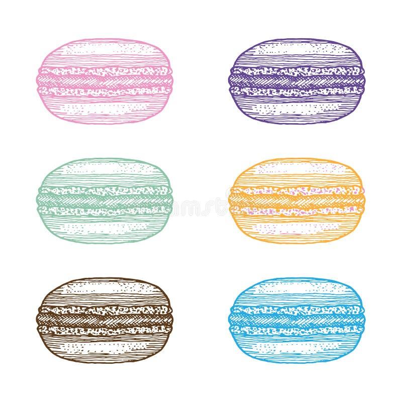 Sistema del postre francés dulce - macarrones ilustración del vector