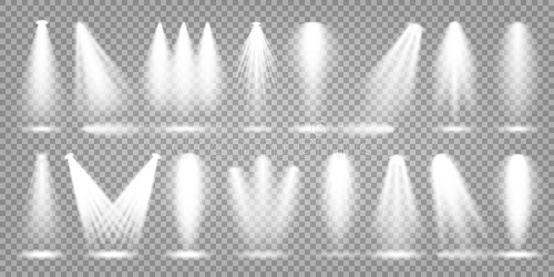 Sistema del proyector del vector Haz luminoso brillante Efecto realista transparente Efect?e la iluminaci?n libre illustration