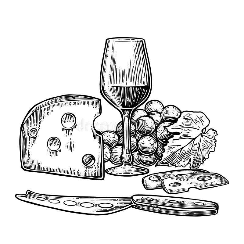 Sistema del queso y del vino Botella, vidrio, manojo de uvas y cuchillo ilustración del vector