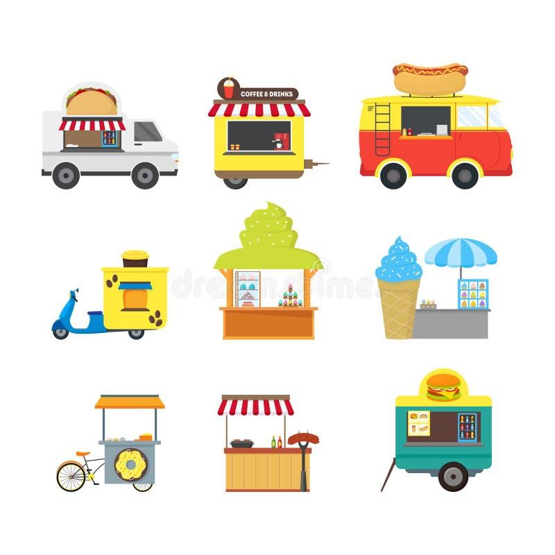 Sistema del quiosco de la parada del camión de la comida de la calle de la historieta Vector libre illustration