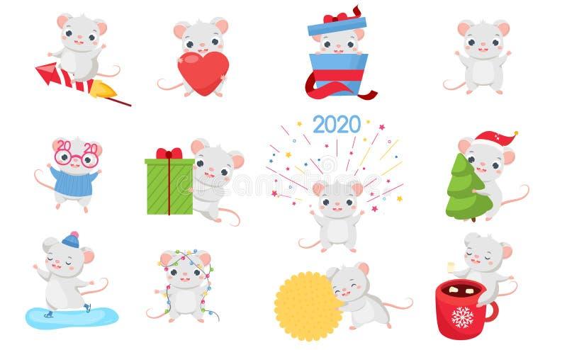 Sistema del rat?n de la historieta Ratas lindas en diversas actitudes Colección grande de animal divertido del roedor para el dis libre illustration