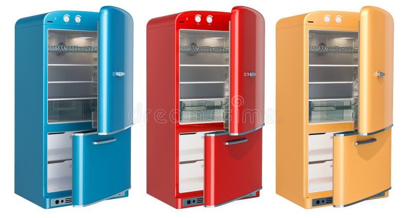 Sistema del refrigerador coloreado, diseño retro representación 3d ilustración del vector