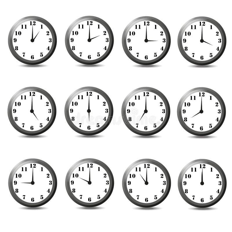 sistema del reloj doce Ilustración del vector en el fondo blanco imagen de archivo libre de regalías
