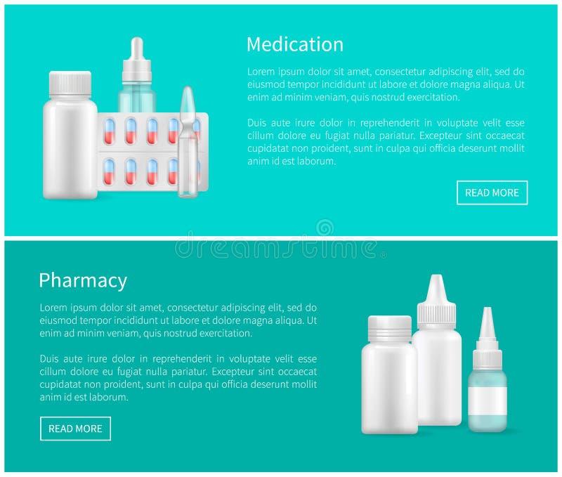 Sistema del remedio de las banderas del web de la medicación y de la farmacia libre illustration