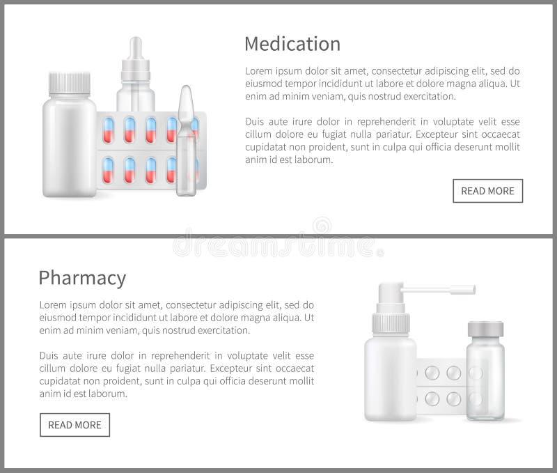 Sistema del remedio de las banderas del web de la medicación y de la farmacia stock de ilustración