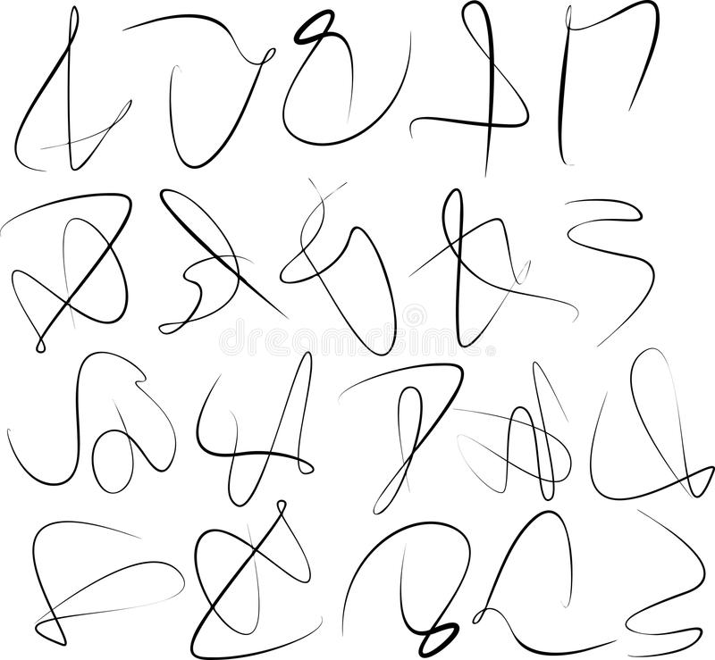 Sistema del remolino abstracto de la caligrafía ilustración del vector