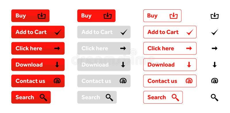 Sistema del rojo de botones del web con los iconos stock de ilustración