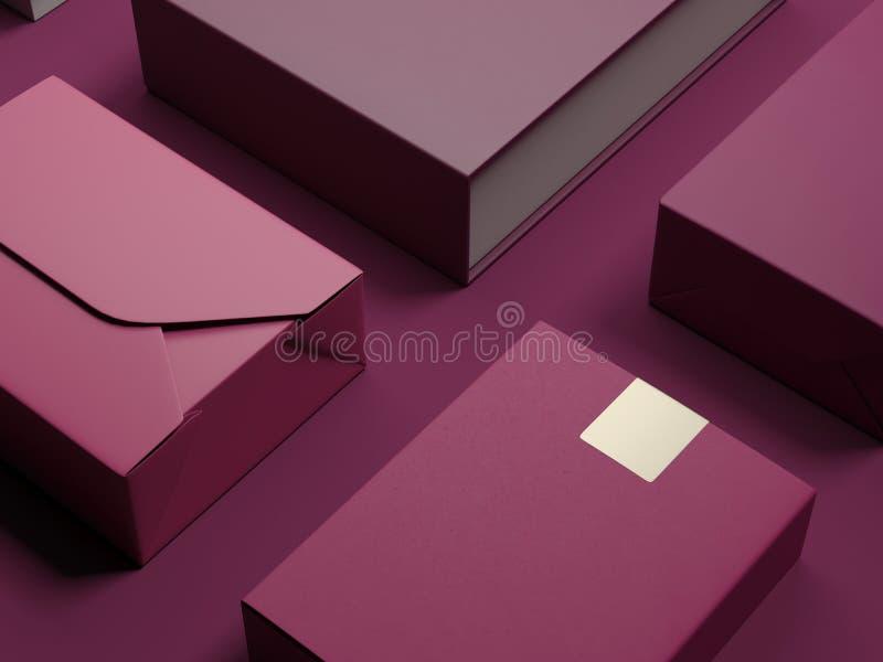 Sistema del rojo de paquetes de lujo representación 3d ilustración del vector
