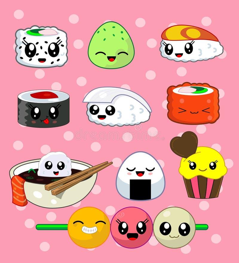 Sistema del rollo de sushi Caracteres felices del sushi ilustración del vector