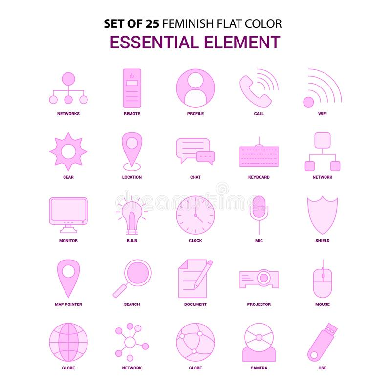 Sistema del sistema rosado del icono del color plano esencial del elemento de 25 Feminish stock de ilustración