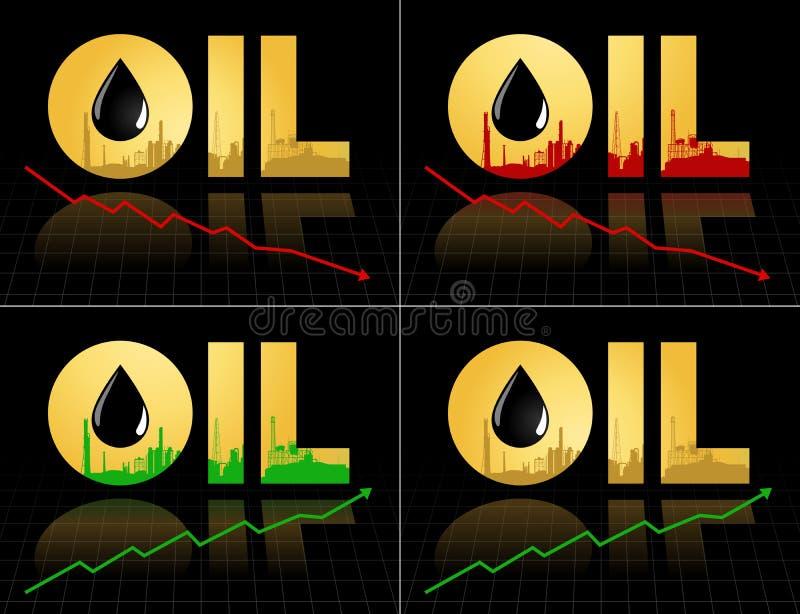Sistema del símbolo del precio del petróleo crudo con el gráfico libre illustration