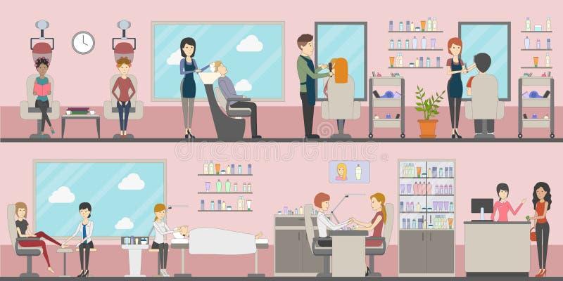 Sistema del salón de belleza stock de ilustración