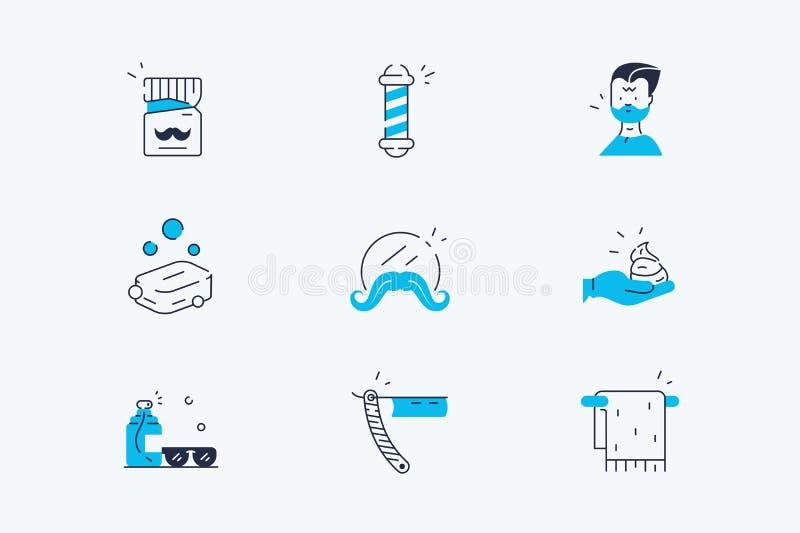 Sistema del salón del peluquero ilustración del vector