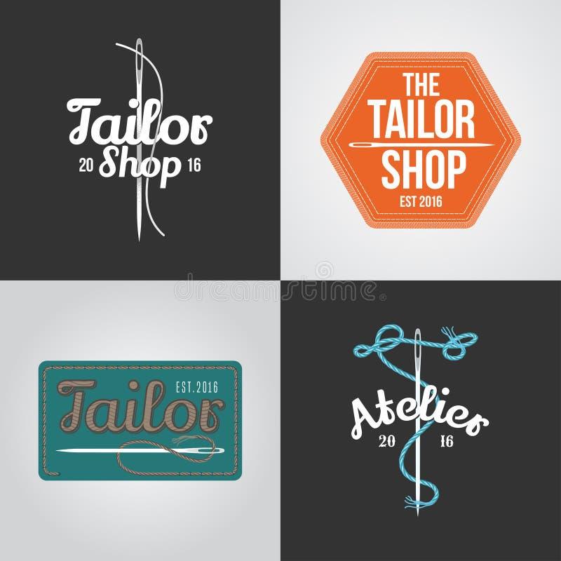 Sistema del sastre, logotipo del vector del taller, icono, símbolo, emblema, muestra stock de ilustración
