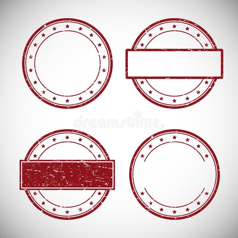 Sistema del sello de goma rojo del grunge, ejemplo del vector libre illustration