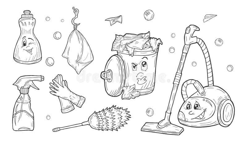 Sistema del servicio de la limpieza ilustración del vector