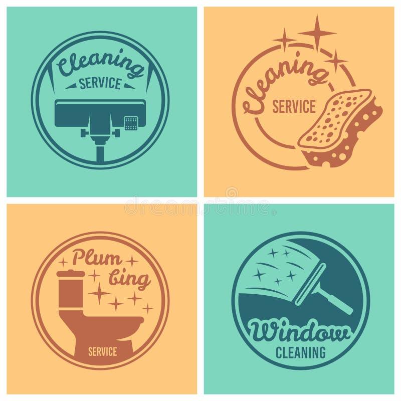 Sistema del servicio de la limpieza de insignias redondas del vector libre illustration