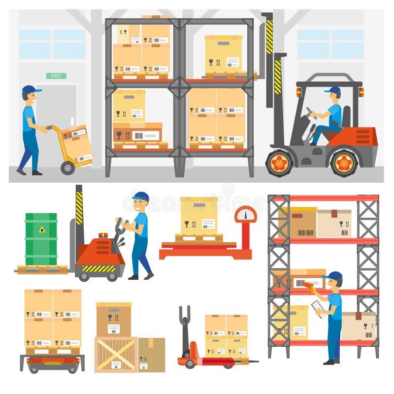 Sistema del servicio logístico y de entrega stock de ilustración