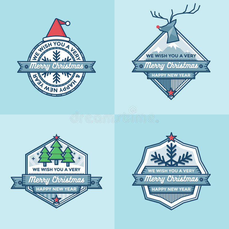 Sistema del sistema plano del vector del diseño de las banderas de las etiquetas de las insignias de la Navidad libre illustration