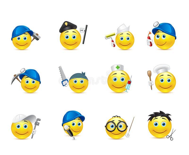 Sistema del smiley de s, distribuido en empleos stock de ilustración