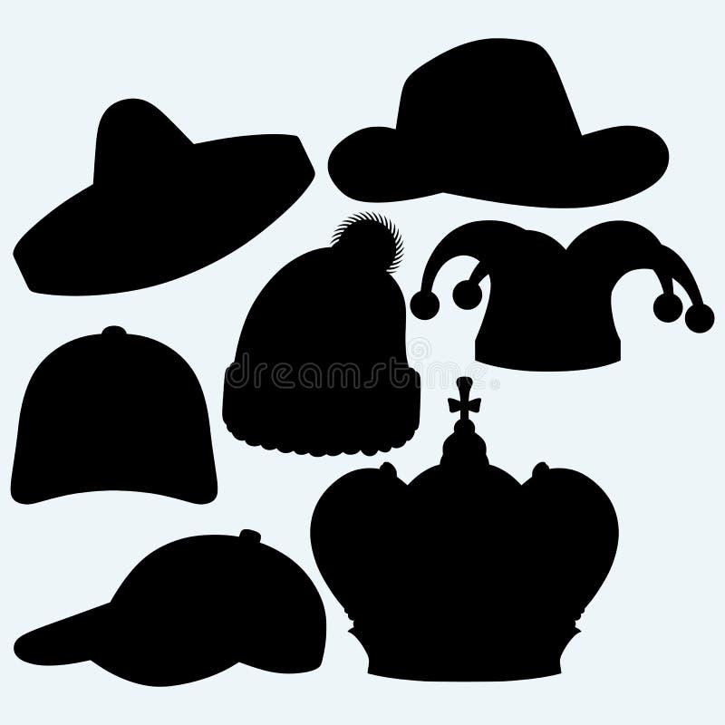Sistema del sombrero ilustración del vector