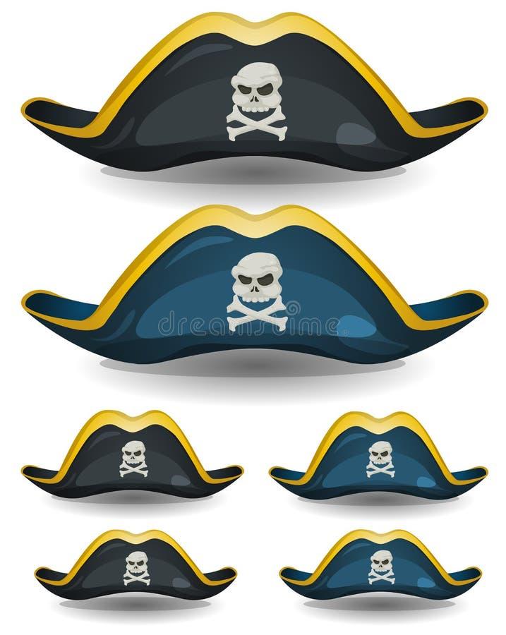Sistema del sombrero del pirata ilustración del vector