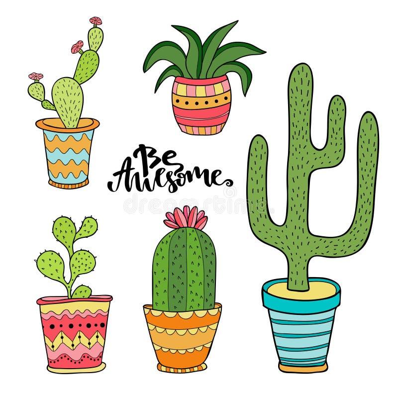 Sistema del Succulent y del cactus Plantas de la historieta en potes El ejemplo del vector fijó con las plantas lindas del interi stock de ilustración